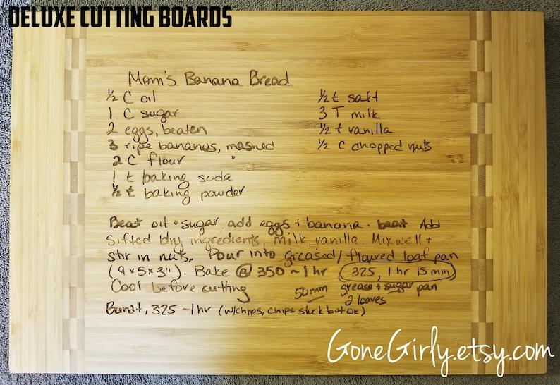 Turn a Loved One/'s Art or Favorite Recipe into a Custom Engraved Bamboo Cutting Board Handwritten Recipe