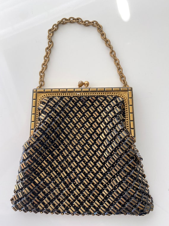 Vintage Whiting Davis Gold Black Mesh Purse with B