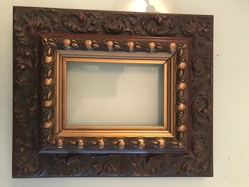 89d9336cdd9 Vintage Ornate Frame Recessed for Painting or Photo Deep Burnt