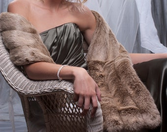 Prom Spring Formal Light Brown faux fur Stole Winter Wedding shawl wrap THREE grooved rows wide