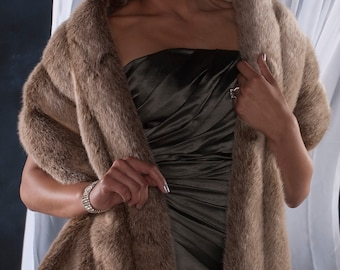 """Faux fur Stole shawl wrap Frosted Light Brown faux fur Winter wedding 72"""" length FOUR grooved rows wide"""