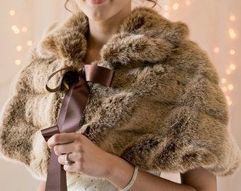 Frosted light brown grooved Faux Fur Capelet for a Bride's Winter Wedding cape coat