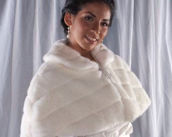 Winter Wedding Faux Fur Capelet Bride's cape coat Available in ivory, black, white or cream grooved faux fur