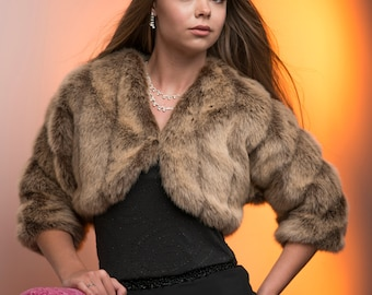 Jacket Frosted Brown faux Fur 3 /4 sleeve bolero jacket shrug Style A Bride's winter wedding