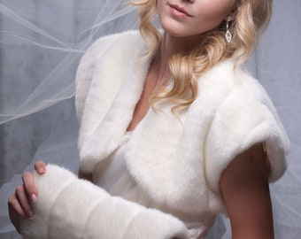 Winter Wedding faux fur Bolero Jacket Style B and regular size muff Available in variety of faux furs