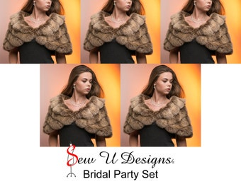 Set of FIVE woman's Specialty faux fur shrugs-Style B Available in a variety of Specialty faux furs