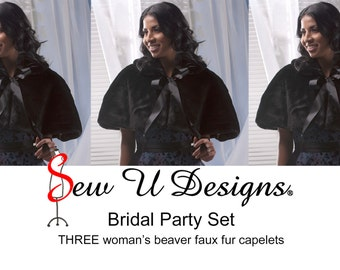 Bridal Party set of THREE women's faux fur capelets Available in white, diamond white, cream or black beaver faux fur