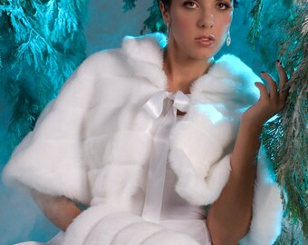 Winter Wedding Cape set Faux fur capelet and regular size hand muff Available in White, Ivory, Cream or  Black Grooved Faux Fur