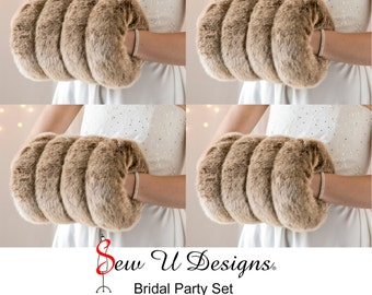 Frosted Brown Super Size faux fur muffs Set of FOUR hand warmer for your Winter wedding