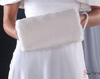 Bride's Faux Fur Muff winter wedding regular size handwarmer Available in white, diamond, cream or black faux fur beaver