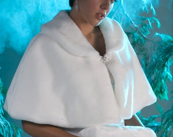 Winter Wedding Cape set Faux fur capelet and regular size hand muff Available in White, Diamond, Black or Cream Faux Fur