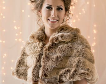 Cape Frosted light brown grooved Faux Fur Capelet for a Bride's Winter Wedding cape coat