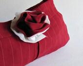 Red Pinstripe Clutch - Womens Clutch Purse