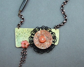 Statement unique one of a kind OOAK handmade brass/copper necklace by Mary Heuer
