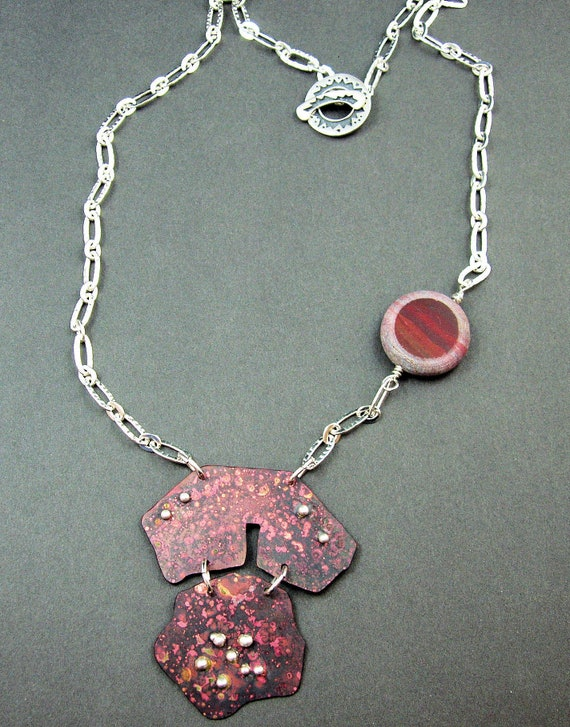 copper and coral one of a kind OOAK handmade necklace by Mary Heuer Striking silver
