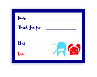 LITTLE MONSTER fill-in-the-blank Thank You Notecards + Envelopes