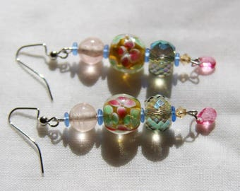 Beaded Dangle Earrings - Floral Painted Green and Pink Glass Beads with Hanging Pink Teardrop Bead