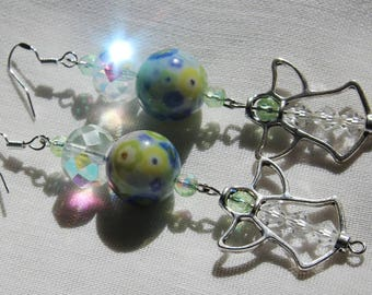 Earth Colored Green & Blue Glass and Sparkly Beads with Hanging Silver Angel Trinket Beads