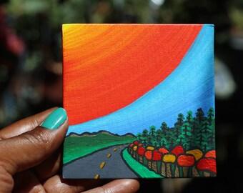 Mini Create Sunshine Painting of a Road Outside of Dawson City in Yukon Canada