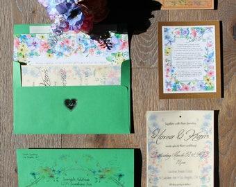Custom Wedding Invitation Design and Assembly