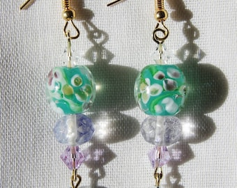 Beaded Dangle Earrings - Pink Floral Painted Teal & Purple Glass and Sparkly Beads with Hanging Sparkly Trinket Beads