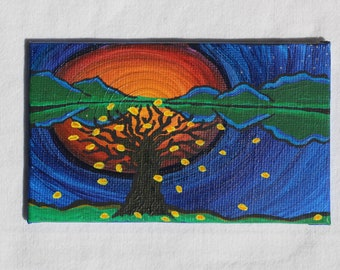 Mini Create Sunshine Reflection Painting Inspired by Camping Trips & Yellow Trees