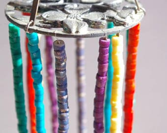 Jewelry Mobile: Wooden Rainbow Beads on Flowered Metal Ring