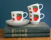 Vintage Georges Briard Designed Strawberry Print Porcelain Cups and Saucers