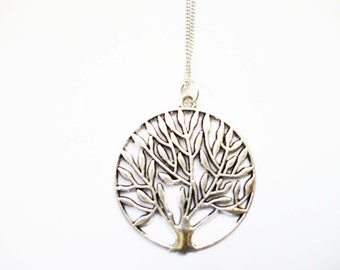 Long Layered Necklace TREE OF LIFE Bohemian Style Long Necklace Simple Long Layering Necklace Long Boho Necklace for Layering Silver Chain