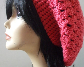 My Pretty Slouchy Hat Beret Tam CORAL Ready to Ship