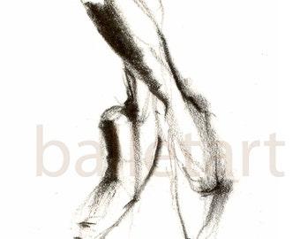 Disegno Di Una Ballerina : Scarpe da punta balletto arte disegno a matita disegno di etsy