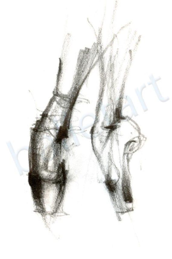 Au Pointe Etsy Chaussures Dessin Crayon Ballet Art Tirage wCqzvzp