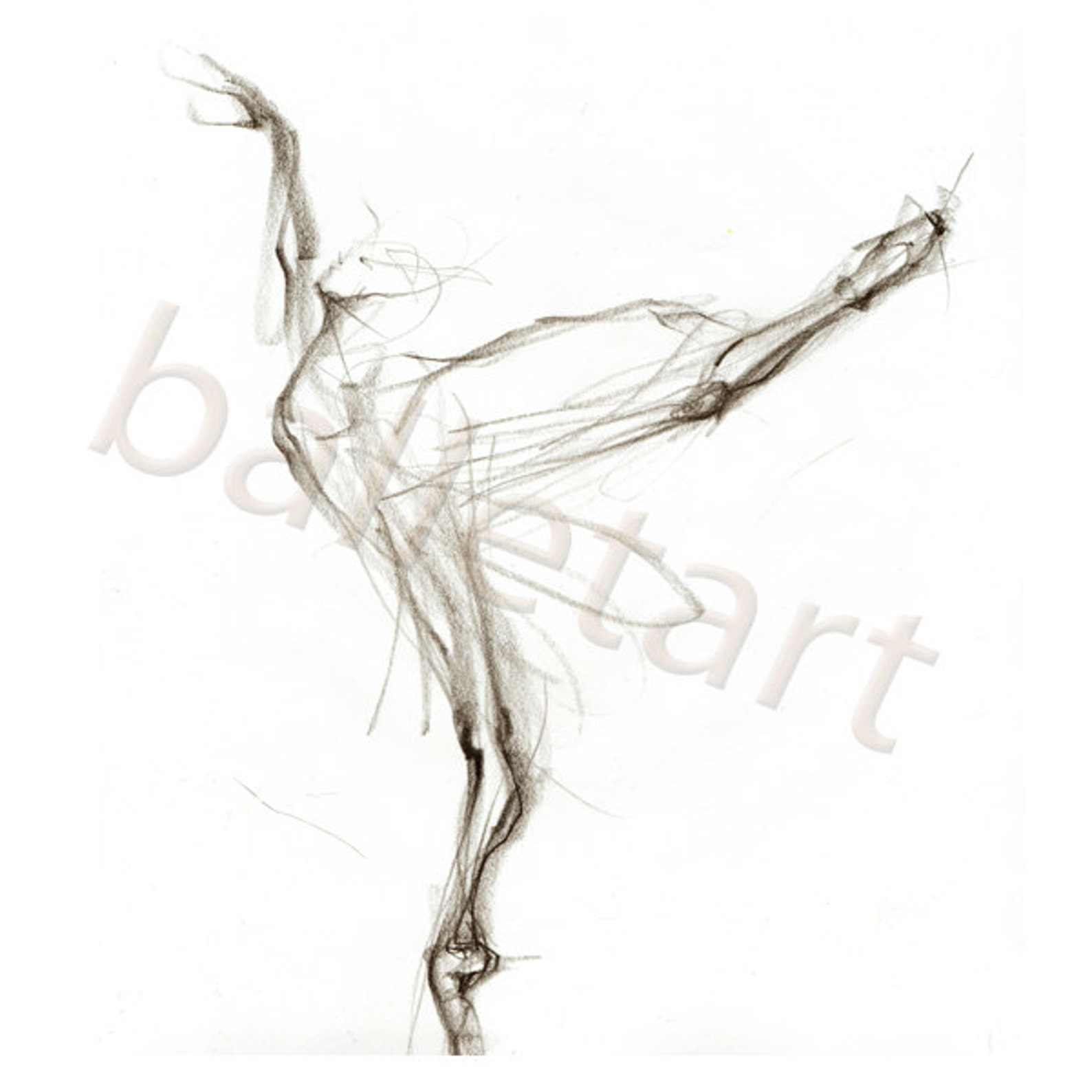 black and white arabesque, ballet art, art print, pencil drawing, dance wall art, ballerina gift, interior design, artwork, gift