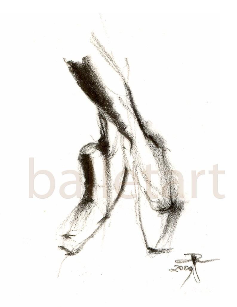 Zapatos De Pointe Arte Ballet Dibujo A Lápiz Dibujo De La Etsy