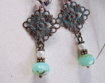 Light green vintage Style earrings, Verdigris filigree, Brass Earrings, Blueartichokedesigns