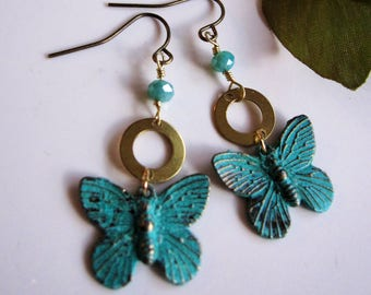 Patina Butterfly Earrings, Turquoise Butterfly, Brass Circle Earrings, Bohemian, Rustic Dangle Drop Earrings, Blueartichokedesigns