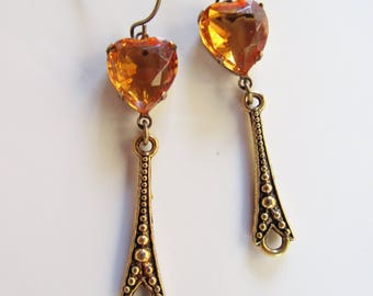 Topaz Victorian Earrings, Brass filigree Drops, Topaz Heart Earrings, Topaz Glass Dangles, Dainty, Estate Vintage Style, Bridesmaid Earrings