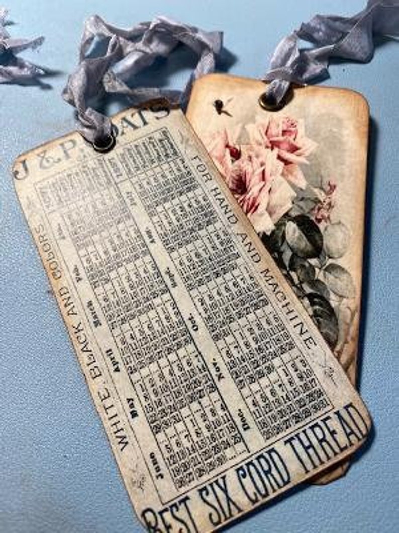 Vintage Style 6 Paul DeLongpre Hang Tags Calendar Backs Shabby Ribbon Ties