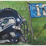 JEREMY WORST Seattle Seahawks 12th Man go hawks Fine Art Print Artwork helmet nfl football helmet player sports jewelry  nsfw sex anime