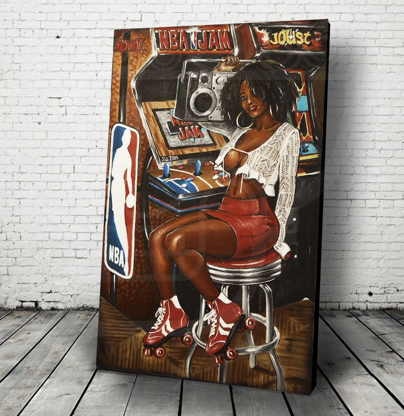 JEREMY WORST NBA Jam Retro Arcade painting Artwork poster Canvas 40x24 inches