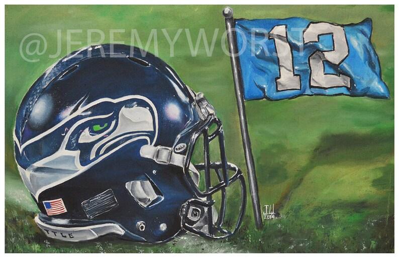 JEREMY WORST Seattle Seahawks 12th Man go hawks Fine Art Print image 0