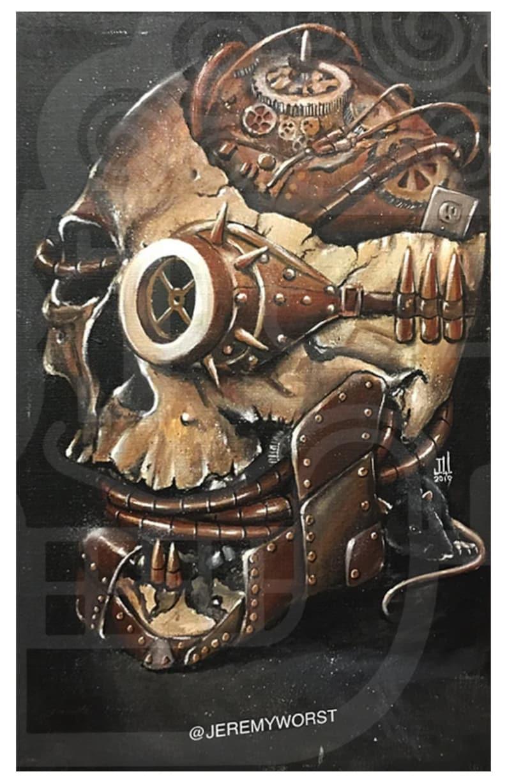 JEREMY WORST Steampunk Skull Acrylic Painting wall decor image 0