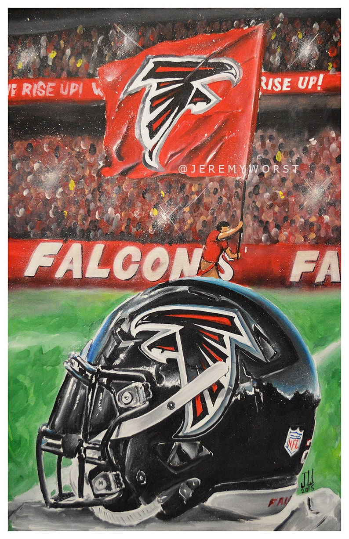 JEREMY WORST Atlanta Falcons Rise up Helmet Artwork Signed image 0