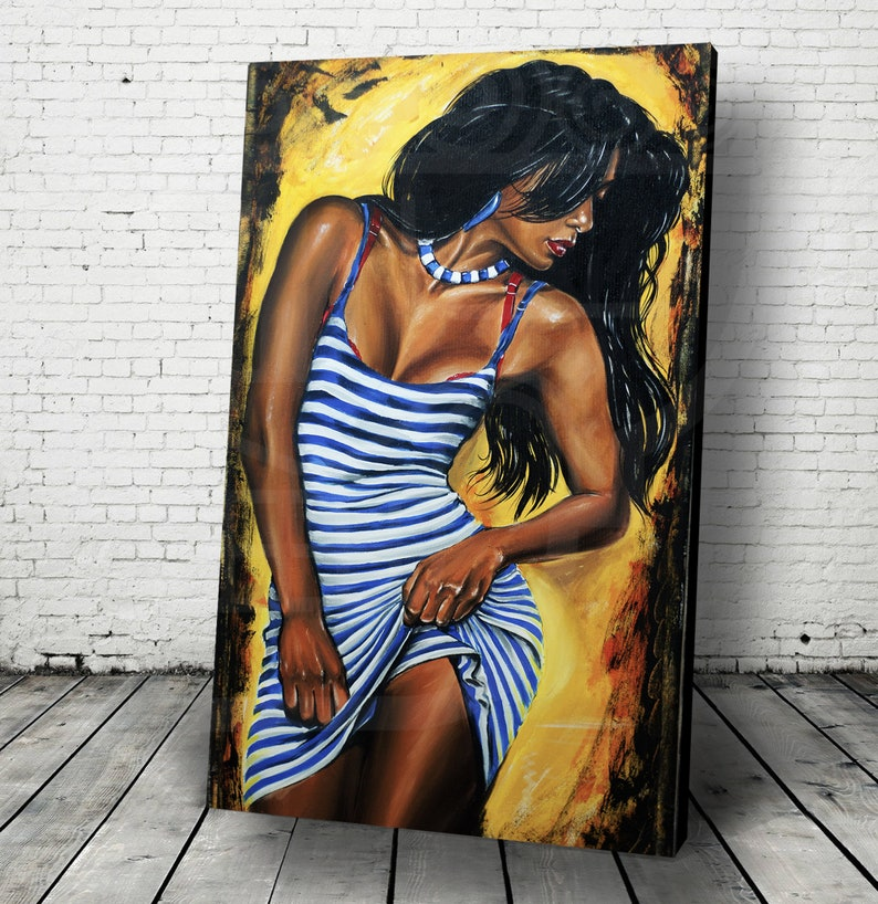 JEREMY WORST Blue Stripes Painting Artwork Canvas image 0