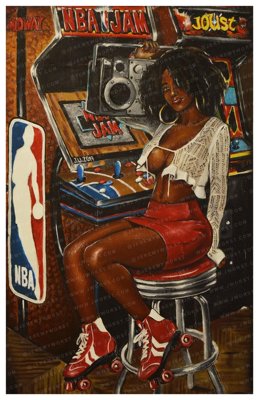 JEREMY WORST NBA Jam Retro Arcade painting Artwork poster image 0