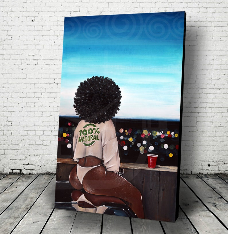 JEREMY WORST 100% Natural African girl pretty afro Canvas sky image 0