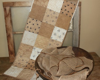 Neutral Snowman quilted table runner