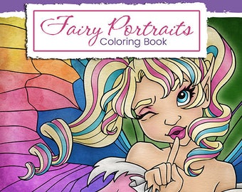 Fairy Portraits PDF Coloring Book, Fantasy Coloring Book, Printable Coloring Book, Adult Coloring Book, Digital Download