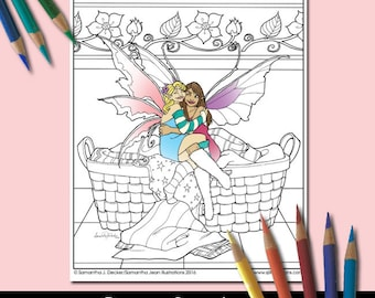 Fairy Couple Coloring Page Fantasy Romance Valentines Day Etsy