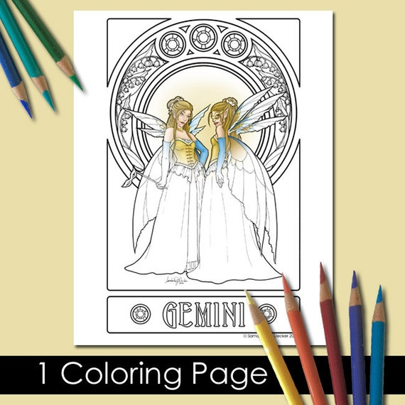 One Adult Coloring Page Zodiac Art Gemini Printable